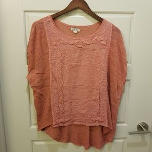 Lucky Brand Rose Pink Boxy Embroidered Top M